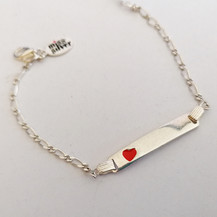 Silver ID Bracelet with red heart