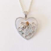 Silver CZ Honeycomb Heart Pendant