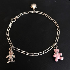Silver Bracelet with 3 charms