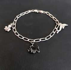 Silver Bracelet with 3 water-themed charms