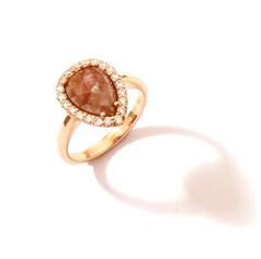18ct Rose Gold Diamond & Pear Shaped Diamond Ring