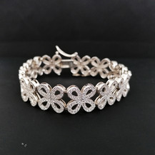 Silver C/Z Ornate Floral Bracelet