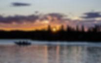 Alaska Boat Rental boat heads in at dusk.