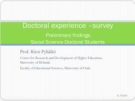 Doctoral-experience survey. Preliminar findings.