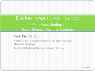 Doctoral-experience survey. Preliminar findings.