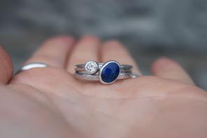 Lapis Lazuli and Diamond Engagement Ring