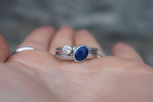 Lapis Lazuli and Diamond Engagement Ring