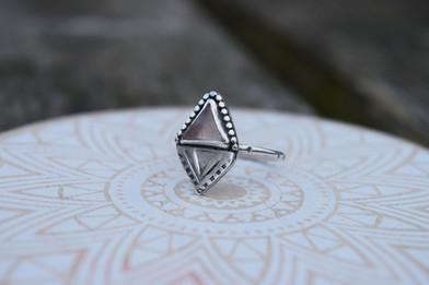 Rose Quartz Triangle Ring