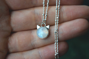 Cat Inspired Moonstone Necklace