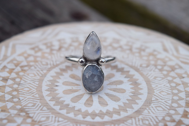 Grey Sapphire and Moonstone Ring