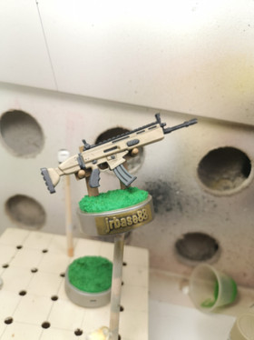 Base with Stand and Rifle