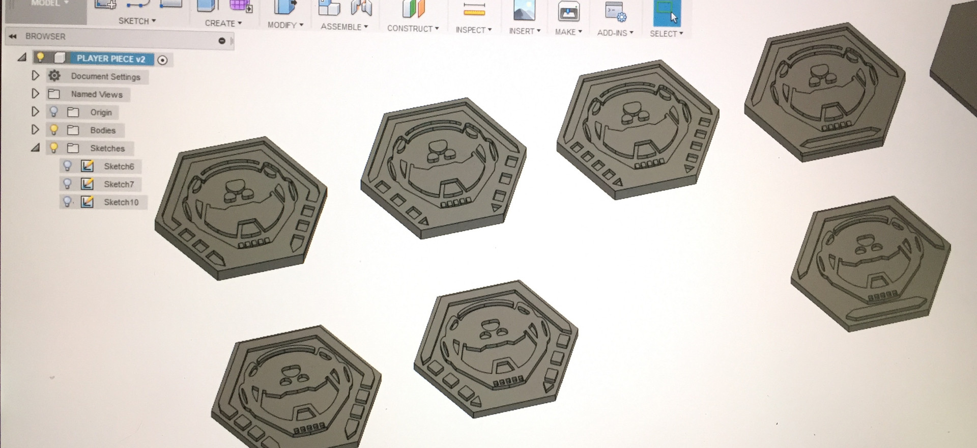 The designs were then printed using ABS on the FDB.
