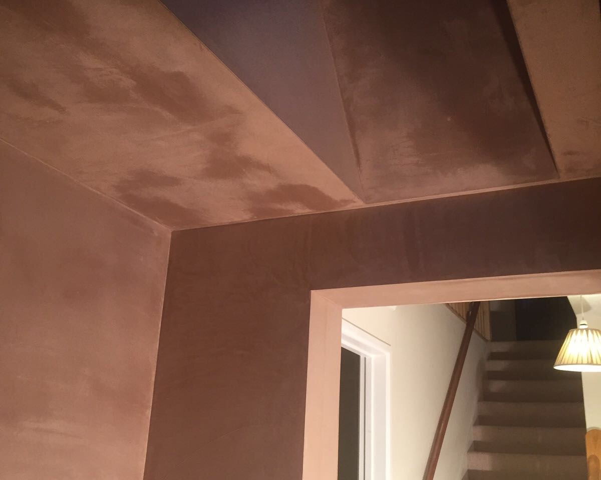 plastered staircase and hallway