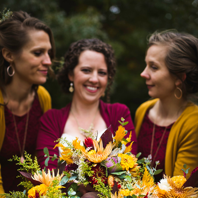 Fall Bridal Party, Gold and Burgundy color pallet