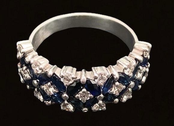 """Bague ancienne or gris saphirs et brillants """"The Crown"""""""