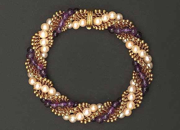 """Bracelet Van Cleef & Arpels or, améthyste et perles """"Twist amethyste"""""""