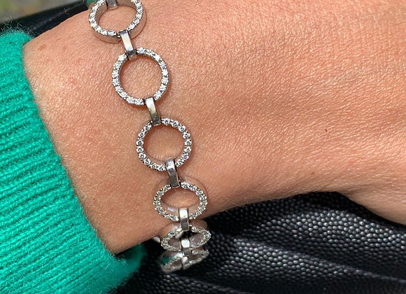"Bracelet retro or gris et diamants ""Etincelles"""