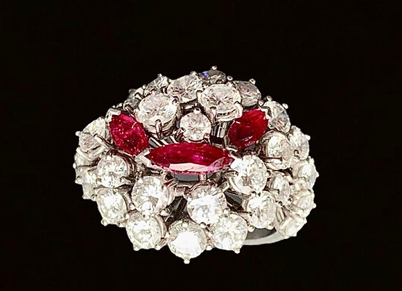 """Bague or gris, diamants et rubis """"Parenthèse Enchantée"""""""