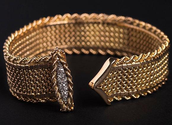Bracelet ceinture Cupidon or jaune et diamants entier