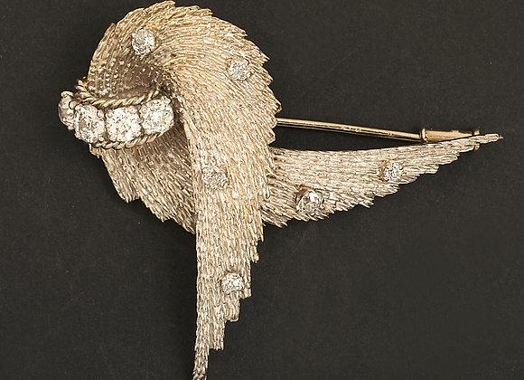 """Broche or gris et diamants """"Les ailes du désir"""""""