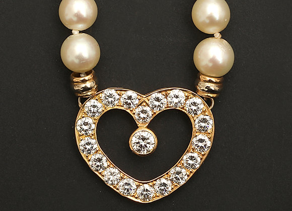 """Collier perles de culture et diamants """"M'aimes-tu"""""""
