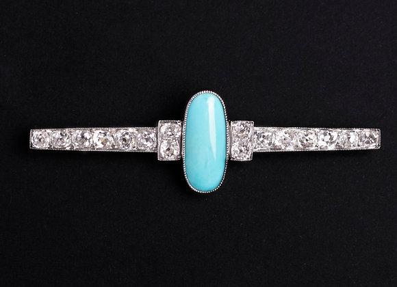 Elégance de barrette or blanc turquoise et diamants