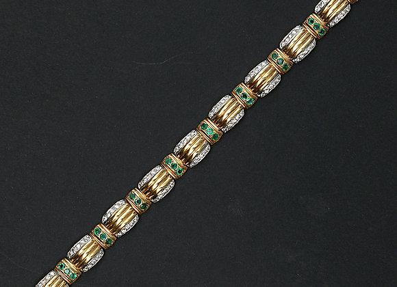 """Bracelet Vintage or jaune émeraudes et brillants """"Maillons Précieux"""""""