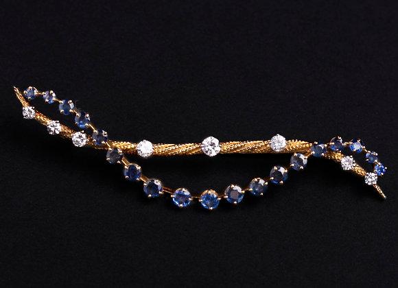 Broche barrette prélude d'une nuit or jaune saphirs et diamants