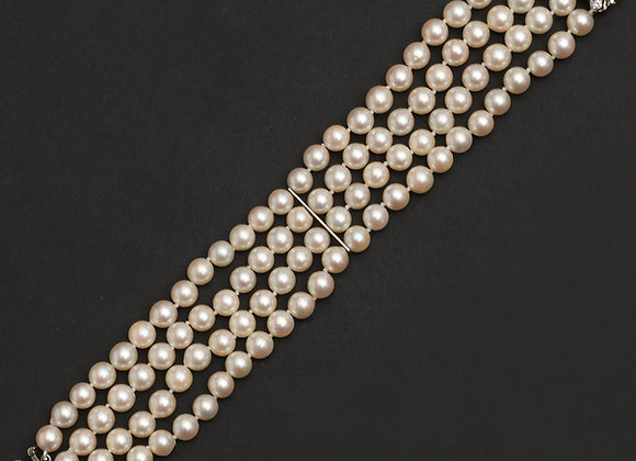 "Manchette perles, fermoir or gris et perles ""Effortless"""