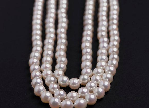 Collier chute de reins perles de culture fermoir ancien or entier