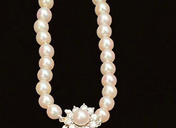 """Collier vintage fermoir or gris et diamants """"Douces Perles"""""""