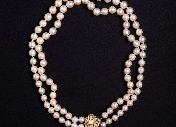 Collier décolleté troublant perles de culture fermoir vintage entier