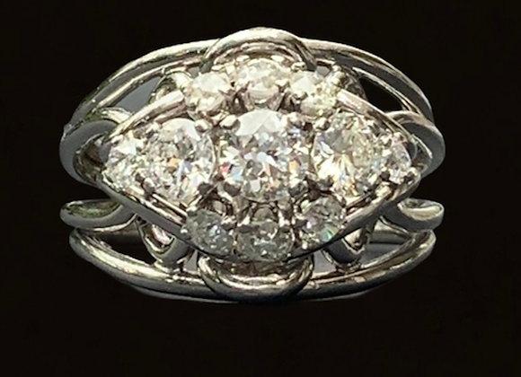 """Bague vintage or gris et diamants """"Fleur Epanouie"""""""