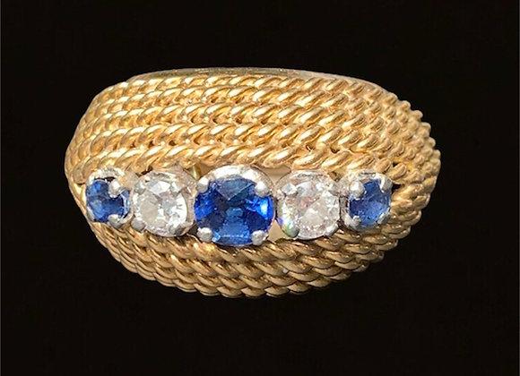 """Bague vintage or jaune saphirs et diamants """"Bomba"""""""
