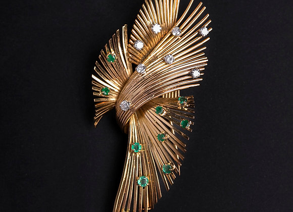 Clip vol d'oiseau or jaune émeraudes et diamants face