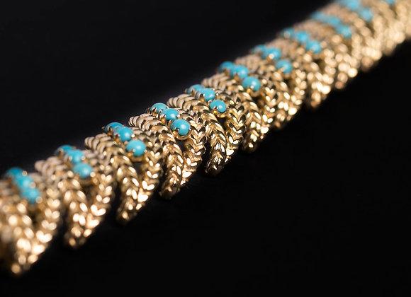 Bracelet été indien or jaune et turquoises diagonale