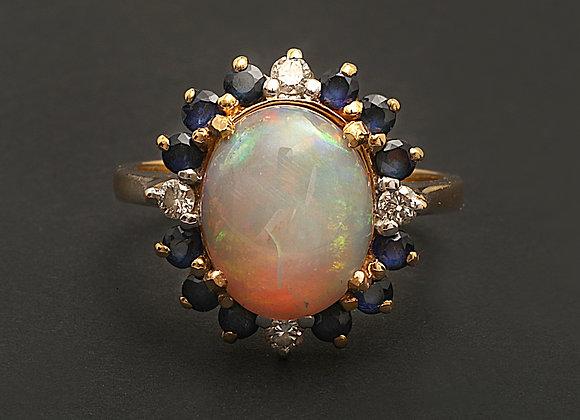 """Bague or jaune, diamants, saphirs et opale """"Miroir mon beau miroir"""""""
