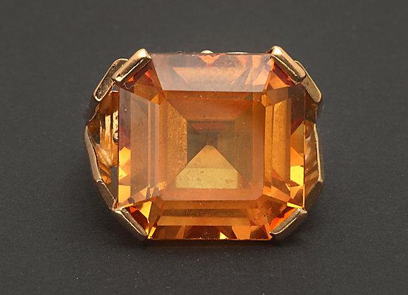 """Bague en or jaune et saphir orange de synthèse """"La Flamboyante"""""""