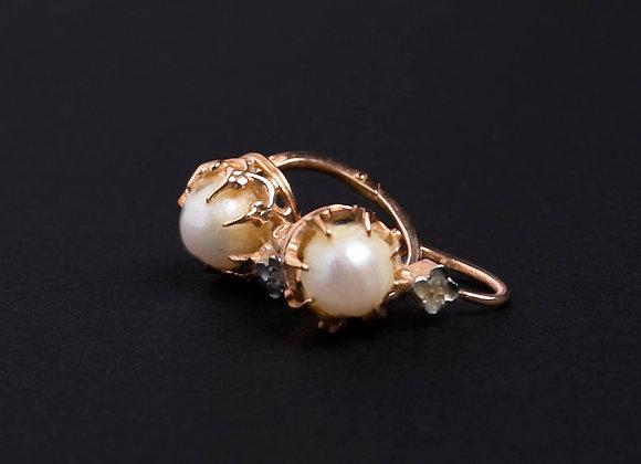 Boucles dormez charmeuses or jaune et perles fines face
