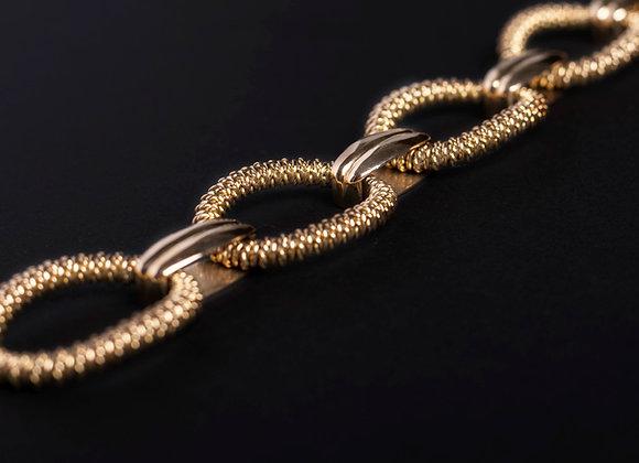 Bracelet chaîne d'amour or jaune diagonal