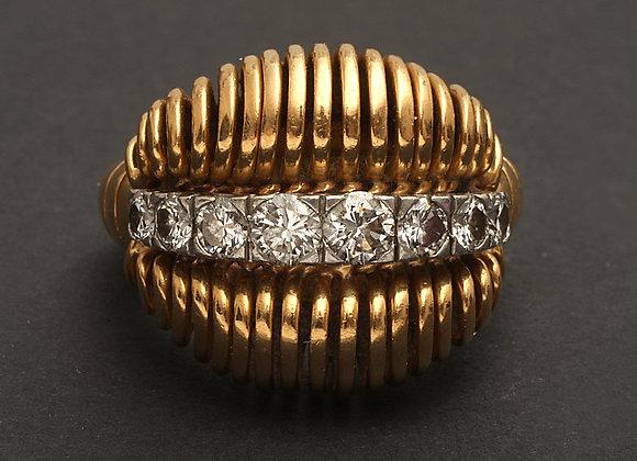 """Bague or jaune et diamants """"Lèvres sensuelles"""""""