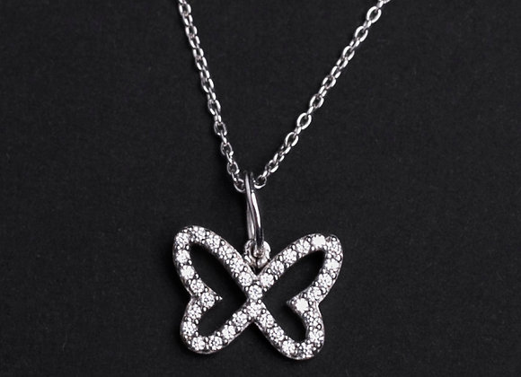 Collier papillon délicat or blanc et diamants face