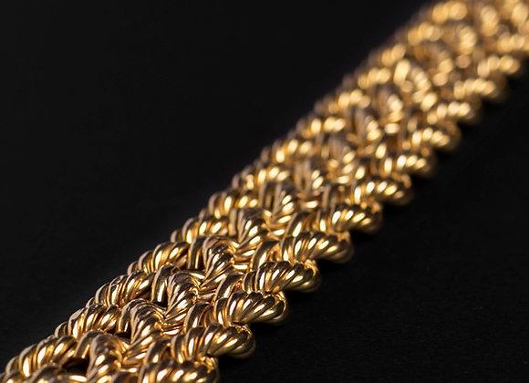 Bracelet Natte d'or jaune diagonale