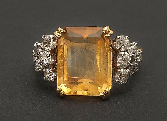 """Bague en or jaune, citrine et diamants """"Friandise acidulée"""""""