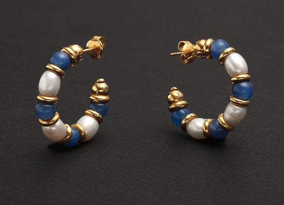 "Créoles OJ Perrin, or jaune, perles et calcédoines ""Blue Jeans"""