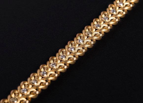 Bracelet à la natte de diamants or jaune diagonale
