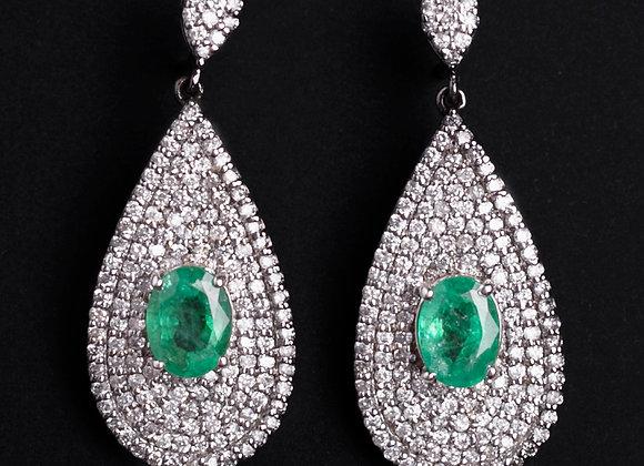 Boucles d'oreilles Rock & Green diamants et émeraudes face
