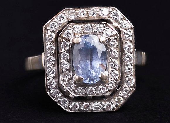 """Bague or gris, saphir et diamants """"Aurore Sublime"""""""