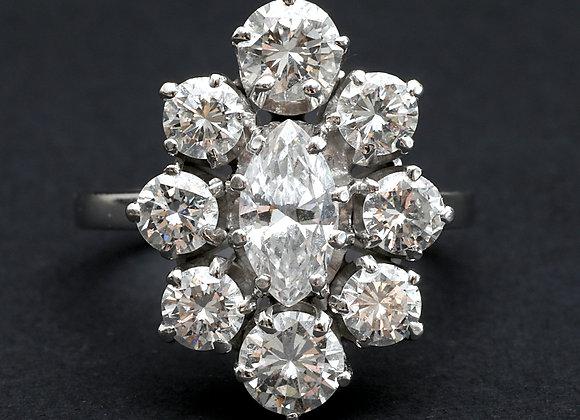 """Bague vintage or gris platine et diamants """"Apparition Céleste"""""""