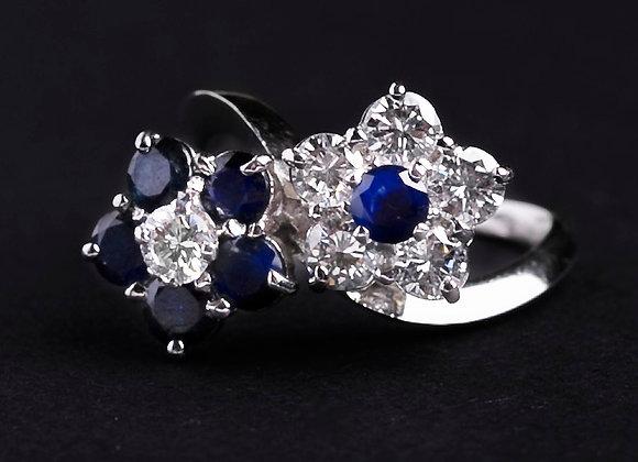 Bague duo de charme or blanc diamants et saphirs face